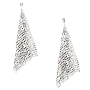 "Silver 4"" Mesh Drop Earrings,"