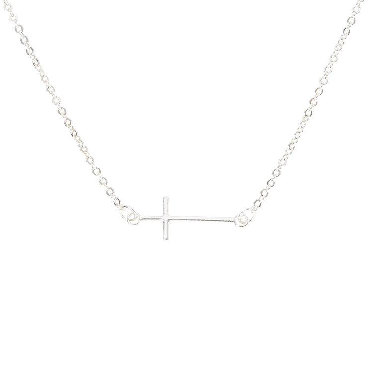 Silver Side Cross Necklace,