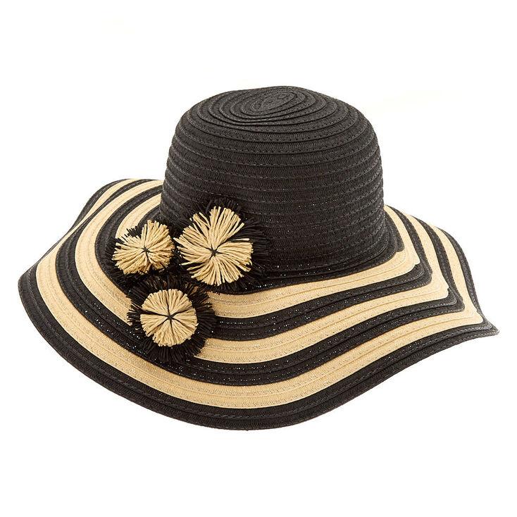 Striped Floppy Hat - Black,