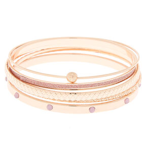 Rose Gold Assorted Glitter Bangle Bracelets - 4 Pack,
