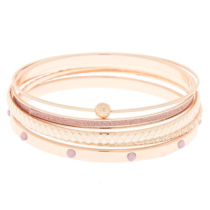 Rose Gold Assorted Glitter Bangle Bracelets - 4 Pack,