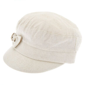 Glitter Bow Captain Hat - Cream,
