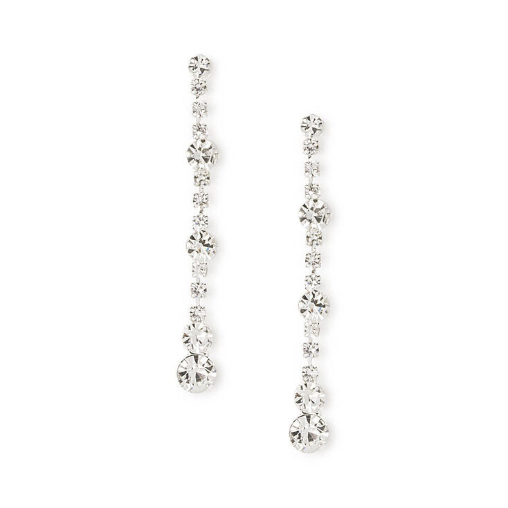 "Rhinestone 1"" Straight Drop Earrings,"