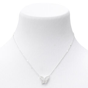 Silver Cubic Zirconia Butterfly Pendant Necklace,