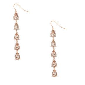 """Rose Gold 2.5"""" Crystal Drop Earrings,"""