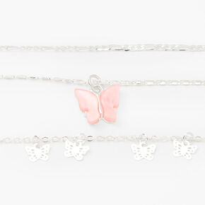 Silver Resin Butterfly Multi Strand Choker Necklaces - Pink, 2 Pack,