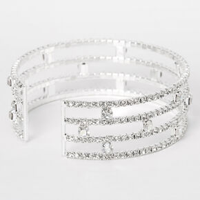 Silver Aurora Borealis Rhinestone Stacked Cuff Bracelet,