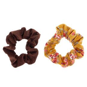 Floral Velvet Hair Scrunchies - Mustard, 2 Pack,