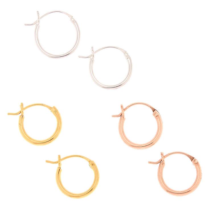 Mixed Metal Sterling Silver Hinge Hoop Earrings - 3 Pack,