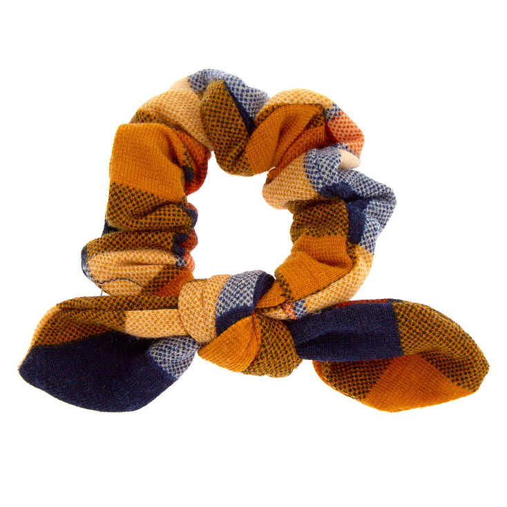Small Plaid Knotted Bow Hair Scrunchie - Mustard,