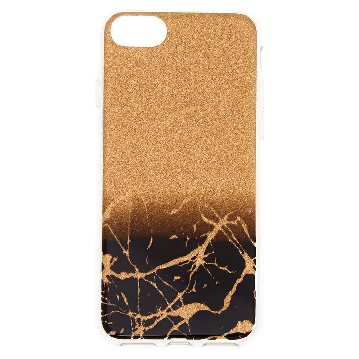Black & Gold Cracked Marble Phone Case - Fits iPhone 6/7/8/SE,