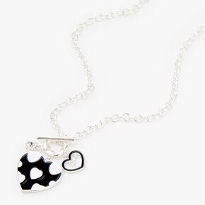 Silver Enamel Hearts Toggle Necklace,