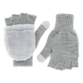 Touch Screen Fingerless Gloves with Furry Mitten Flap - Gray,