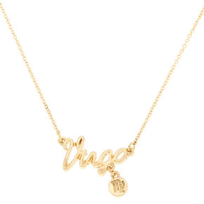 Gold Zodiac Pendant Necklace - Virgo,