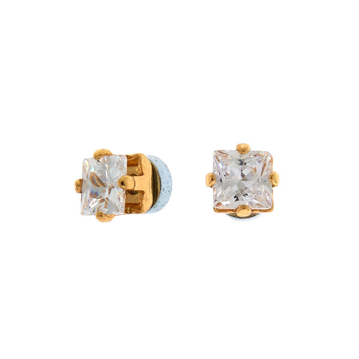 Gold Cubic Zirconia 3MM Square Magnetic Stud Earrings,
