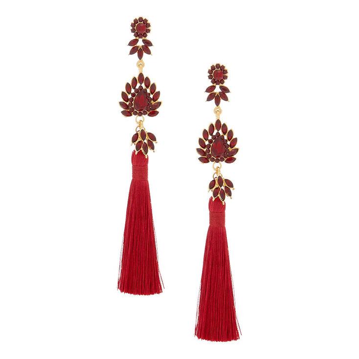 "5"" Embellished Tassel Earrings - Red,"