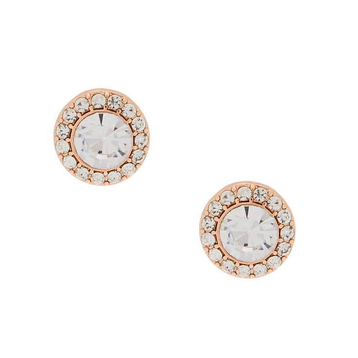 Rose Gold Crystal Stud Earrings,