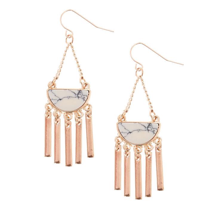 Rose Gold & Marble Fan Drop Earrings,