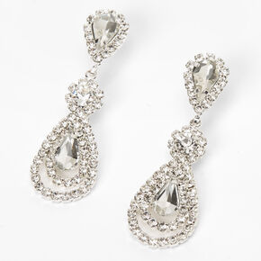 "Silver 1.5"" Rhinestone Teardrop Drop Earrings,"
