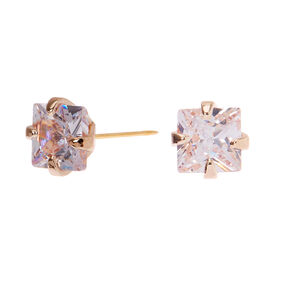 Rose Gold Cubic Zirconia Square Stud Earrings - 4MM,