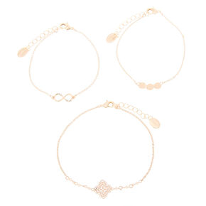 Rose Gold Filigree Chain Bracelets - 3 Pack,