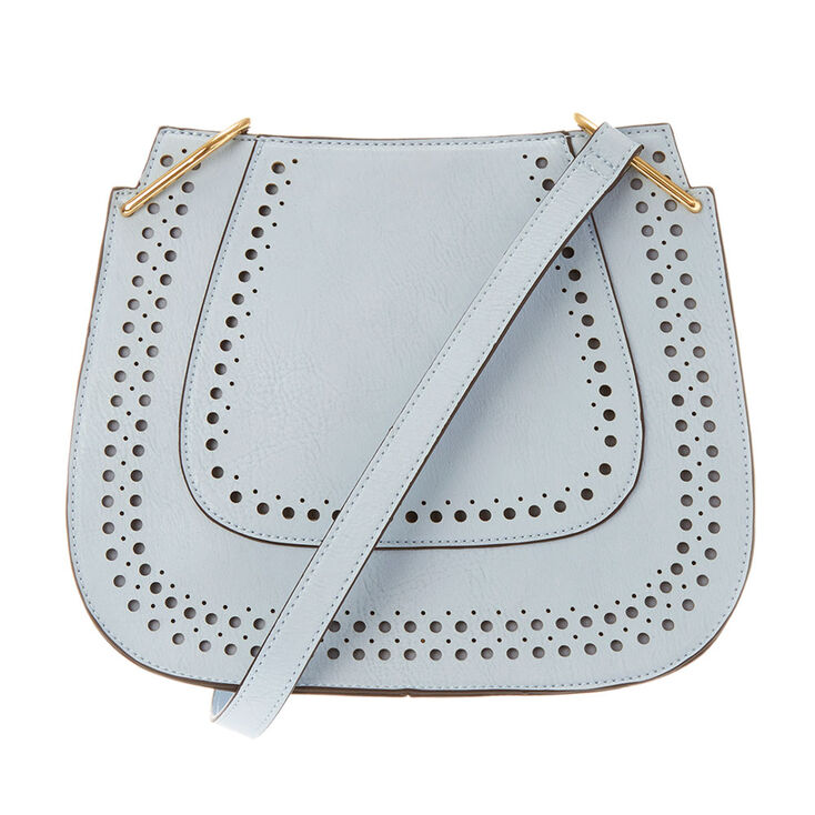 Light Blue Perforated Faux Leather Crossbody Bag