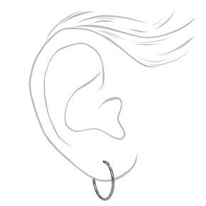 Silver Titanium 14MM Sleek Hoop Earrings,