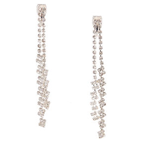 Double Crystal Chain Clip On Drop Earrings,