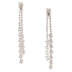 Double Crystal Chain Clip On Drop Earrings,