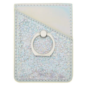 Holographic Tech Sticker Card Pocket with Ring Stand - Silver,