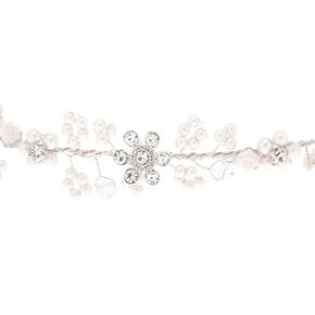 Silver Pearl Flower Crown Headwrap,