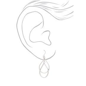 """Silver 1.5"""" Double Teardrop Drop Earrings,"""