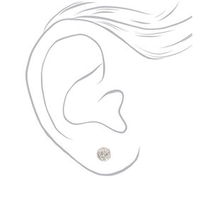 Floral Stud Earrings - White, 3 Pack,