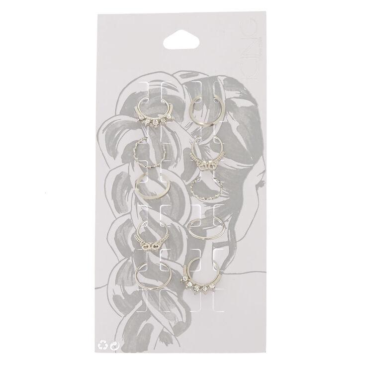 Silver Crystal Septum Hair Rings,