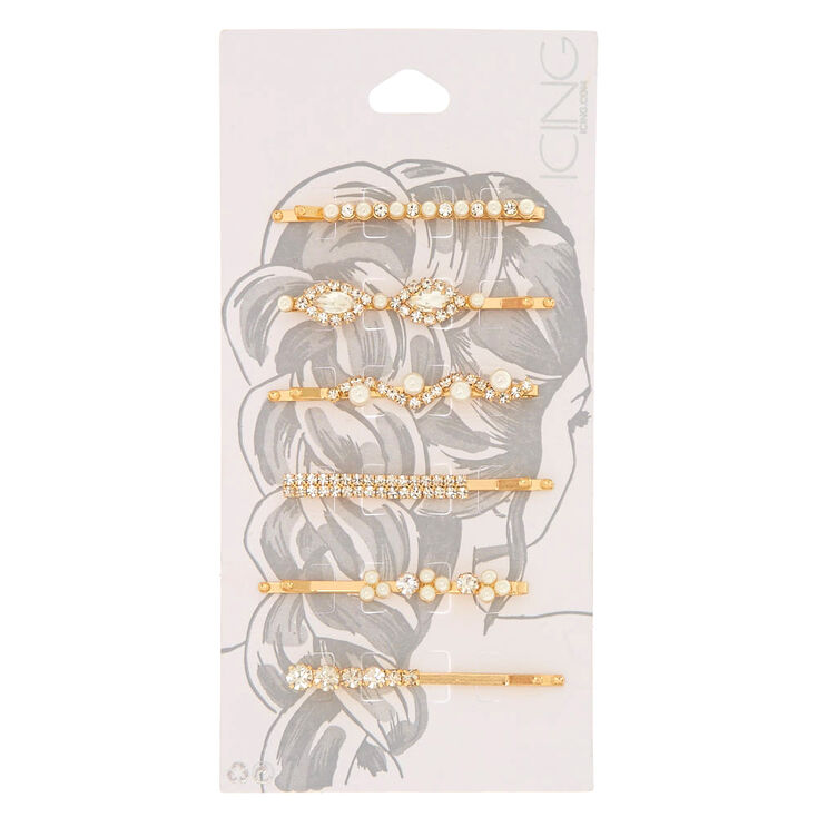Gold Faux Crystal & Pearl Hair Pins - 6 Pack,