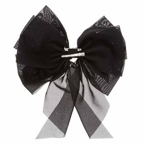 Extra Large Black Mesh Bow Hair Clip,
