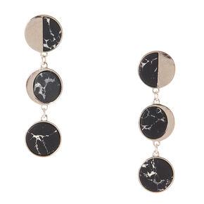 Silver Tone & Black Marbled Circle Drop Earrings,