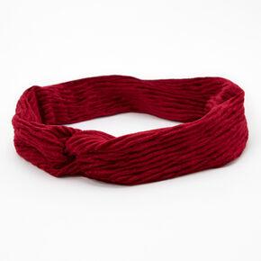 Velvet Pleated Twisted Headwrap - Burgundy,