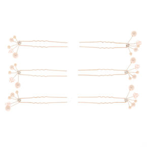 Rose Gold Pearl Hair Pins - 6 Pack,