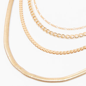 Gold Sleek Snake Chain Multi Strand Necklace,