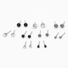 Hematite Round Mixed Stud Earrings - 9 Pack,