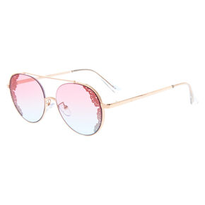 Round Filigree Aviator Sunglasses - Gold,