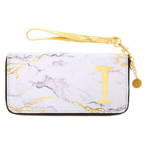 Marble Initial Wristlet - I,