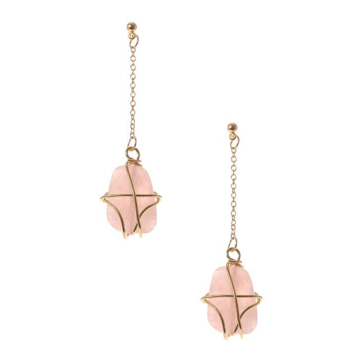 Rose Precious Stone Wire Wrap Drop Earrings,
