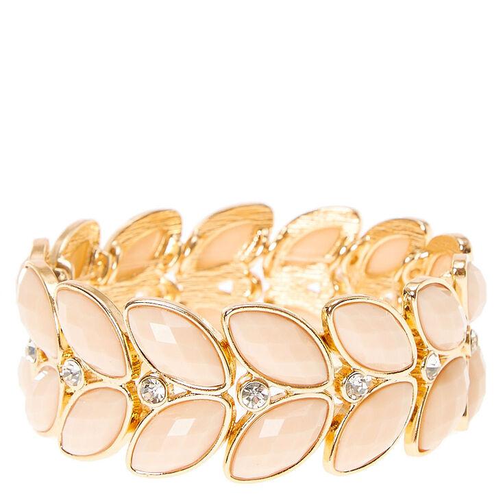 Ivory Leaf Stretch Statement Bracelet,
