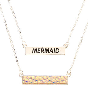2 Pack Silver-Tone Mermaid Necklaces,