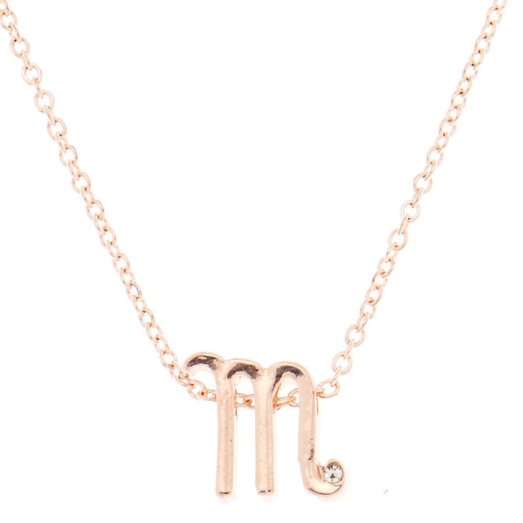 Rose Gold Cursive Initial Pendant Necklace - M,