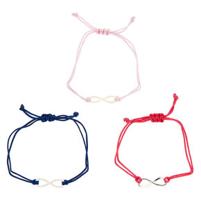 Girly Infinity Adjustable Bracelets - 3 Pack,