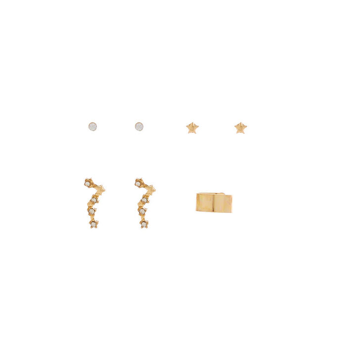 Gold Constellation Stud Earrings, 3 Pack + Free Ear Cuff,