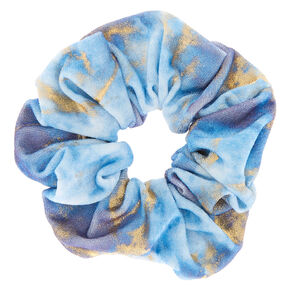 Medium Gold Marble Velvet Hair Scrunchie - Blue,